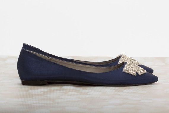 Navy Blue Flats Wedding Bridal Shoe By Parisxox Going To The Chapel Pinterest Flat Shoes And
