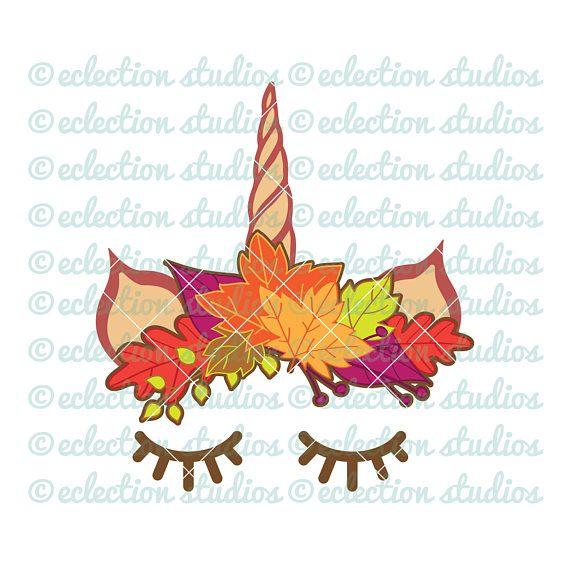 Fall Unicorn Svg Halloween Svg Fall Leaf Crown Unicorn Horn And