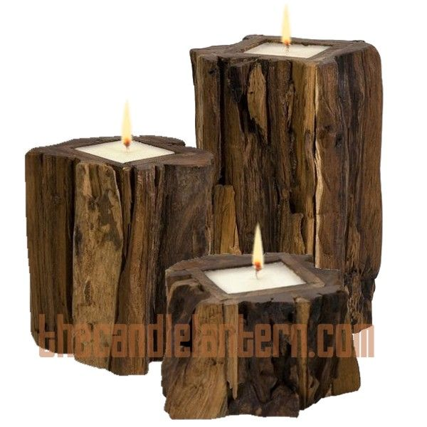 Candles In A Fireplace large rustic teak wood candle holder 3 sizes new | mantel