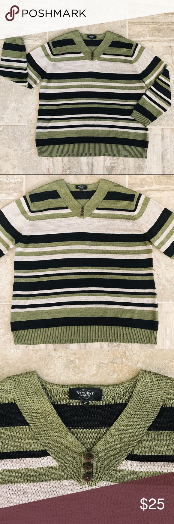"""🪁BEXLEYS GREEN MUL STRIPED SWEATER PLUS SIZE XXL This sweater from BEXLEYS features a v-neck with buttons, long sleeves, and looks like new.  Shoulder to hem approx 28"""" Sleeve length approx 23.5""""  MSRP €50 approx $56.00  📦 #010 BEXLEYS WOMAN Sweaters V-Necks"""