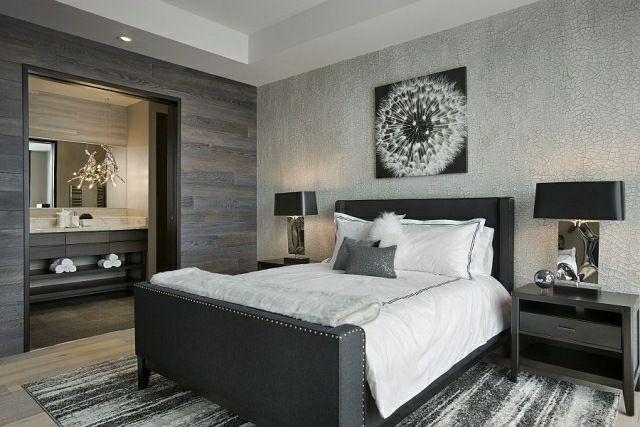 abgesenkte Zimmerdecke Wandverkleidung graue Farben mit Wanddeko