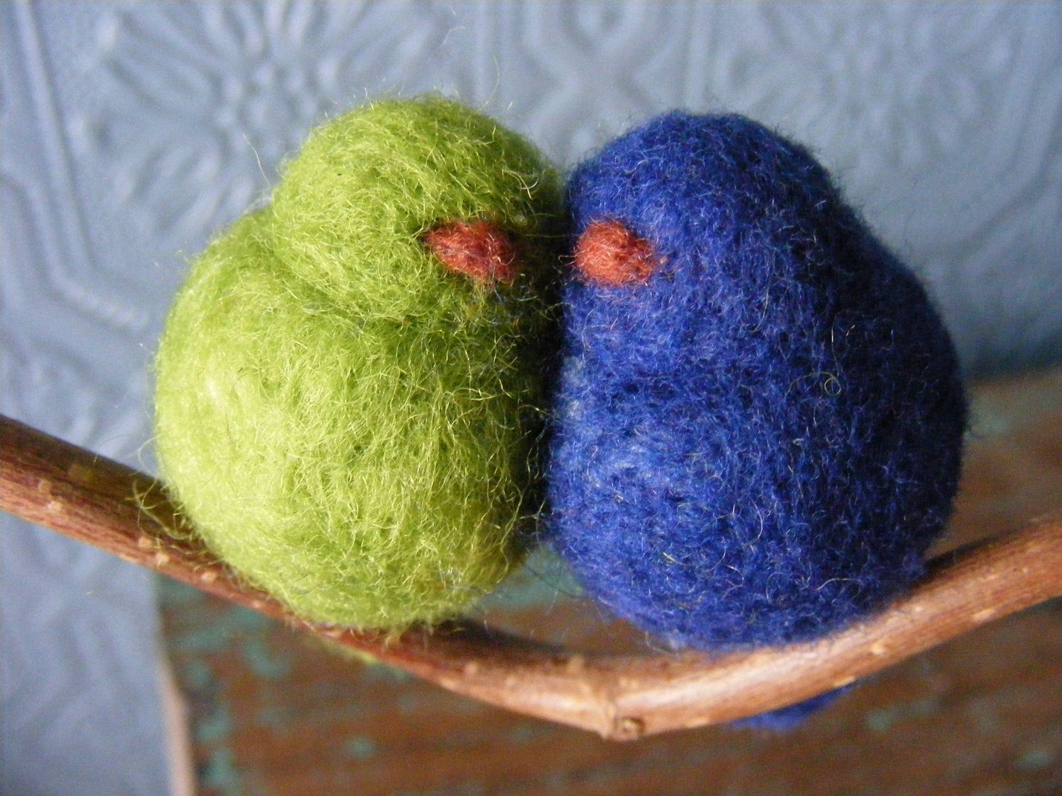 Needle Felted Peace Birds in Blue and Green made to by Zyloby