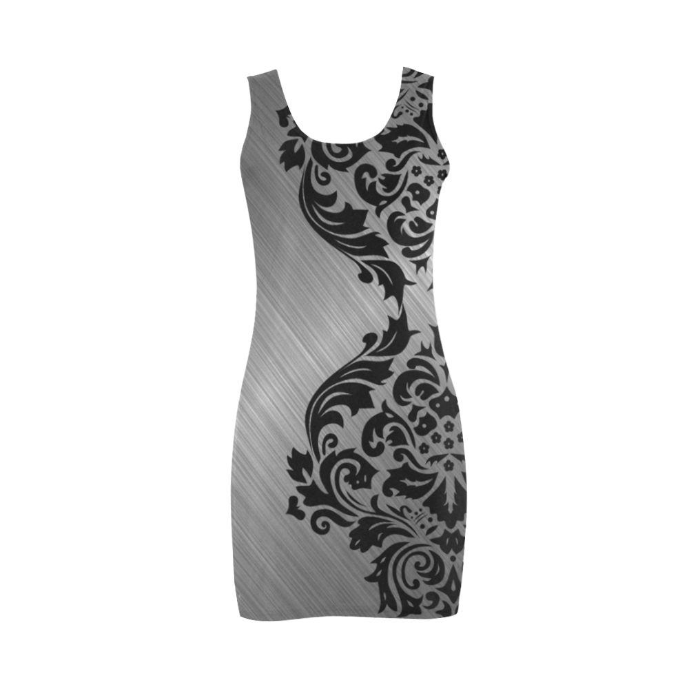 Metallic and Damask Medea Vest Dress (Model D06) - For the sleek and sophisticated girl, this gorgeous and smooth design looks great and will give an elegant and stylish flair to your product. - black, silver, gray, girly, metallic, damask, floral, elegant, modern, stylish, contemporary, sleek