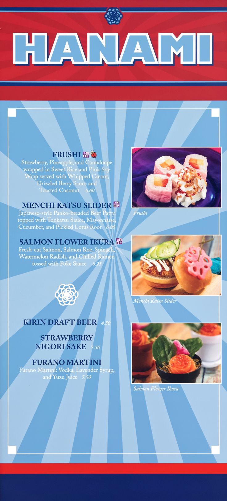 Hanami Japan Menu With Food Photos Prices For 2020 In 2020 Watermelon Radish Flower Garden Festival