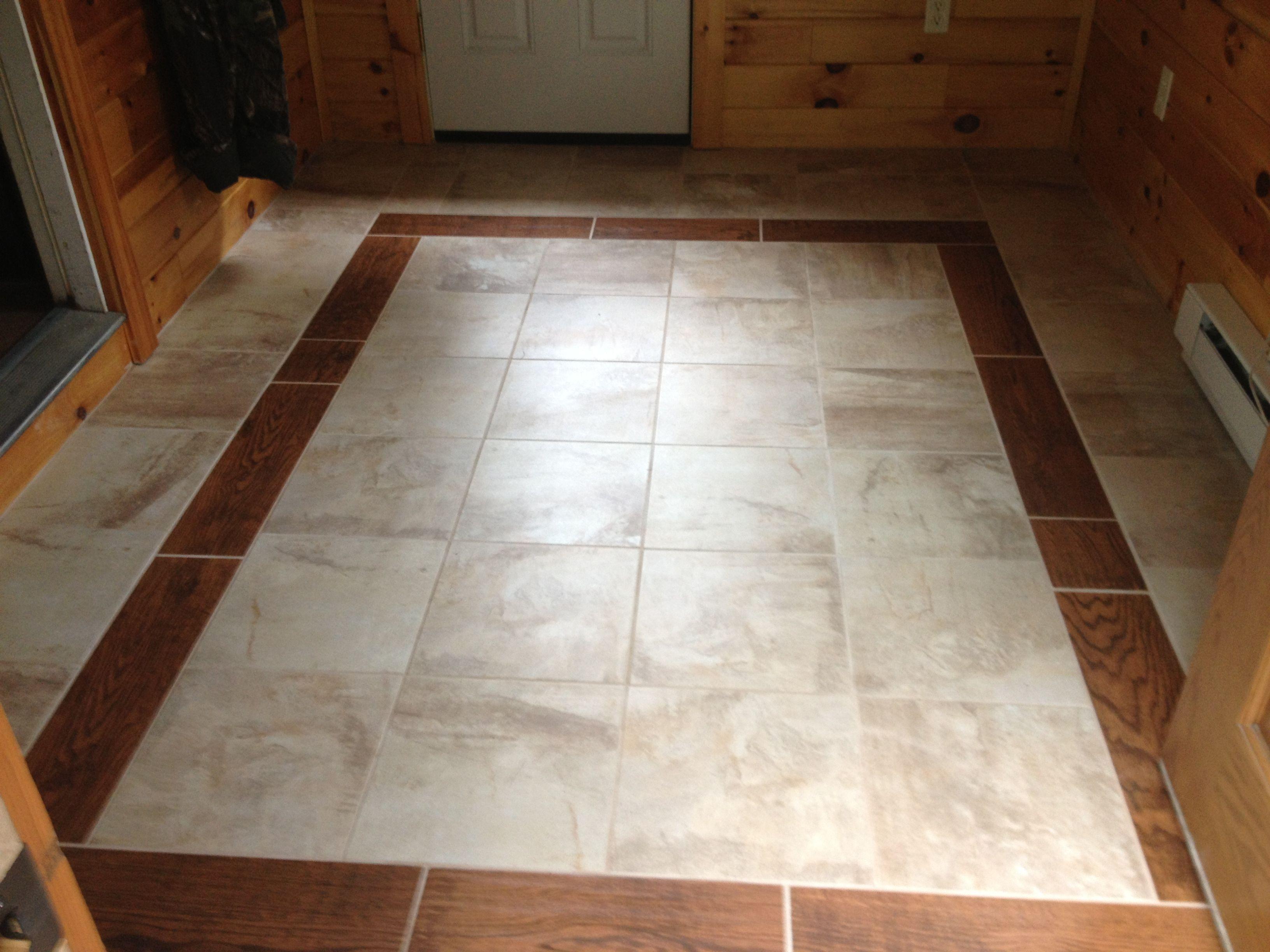 mud room floor wood tile border tile