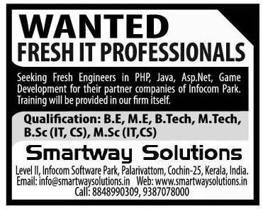 Excellent Vacancies for Smartway Solutions,India | APPLY FOR
