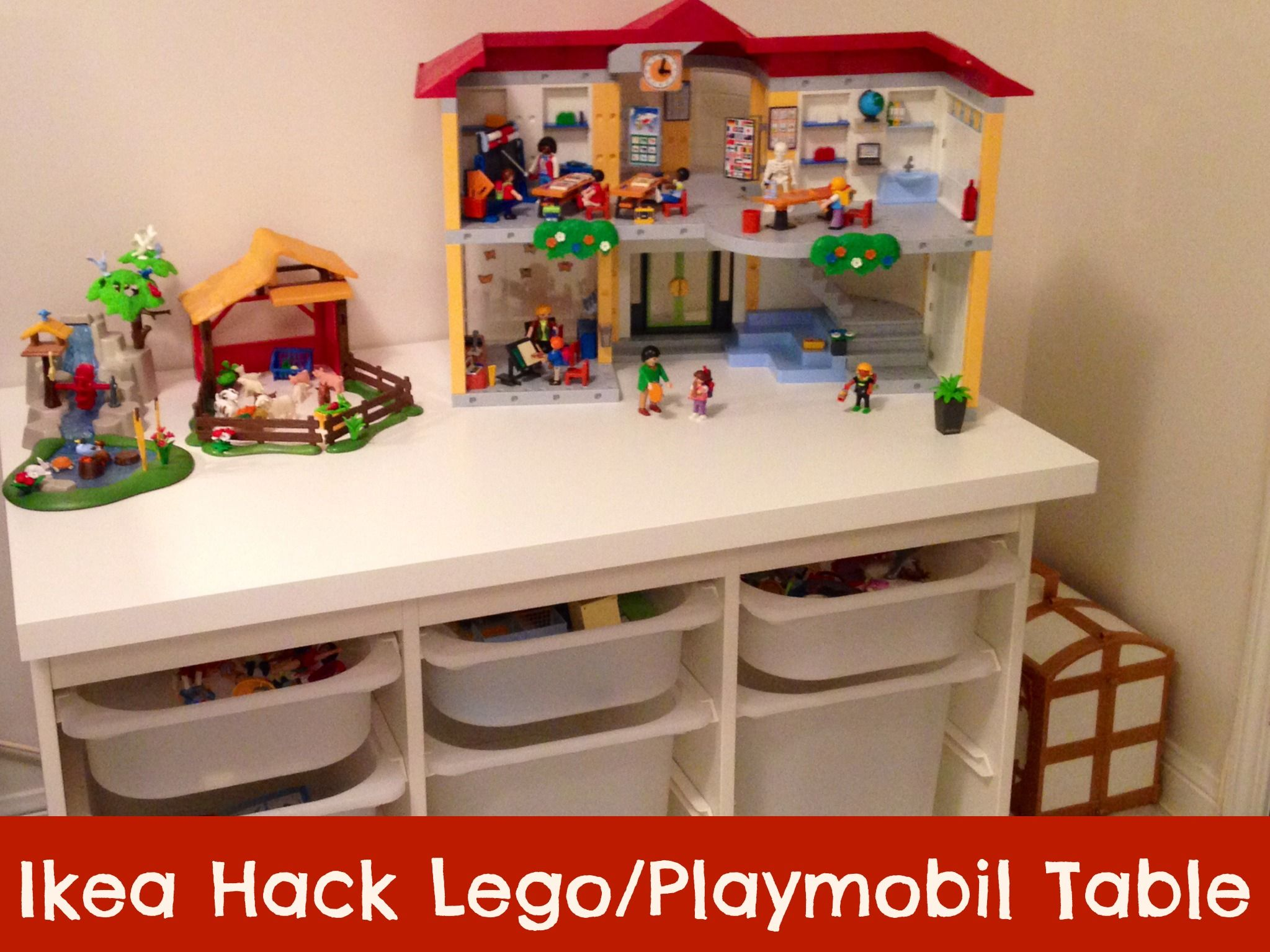 ikea hack table lego playmobil rangement lego. Black Bedroom Furniture Sets. Home Design Ideas