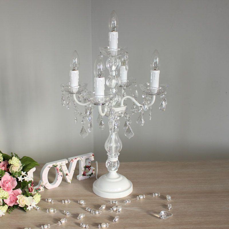 White Chandelier Style Table Lamp With Crystal effect droppers Ideal for a  french vintage style home