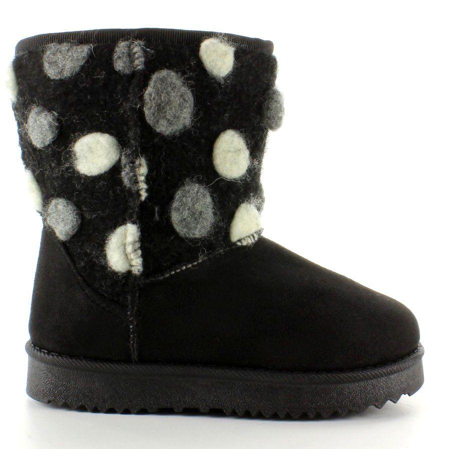 Dzieciece Emusy Z Filcowa Cholewka K1647405 Czarne Boots Ugg Boots Bearpaw Boots