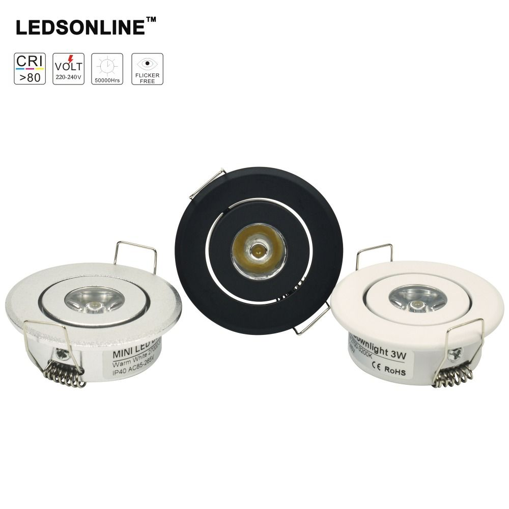 Mini Downlight Led Cabinet 1w Recessed Spot Light Driver Pure Nature Warm White And Silver Black Body Ac85 265v Yesterdays Price Us 4950