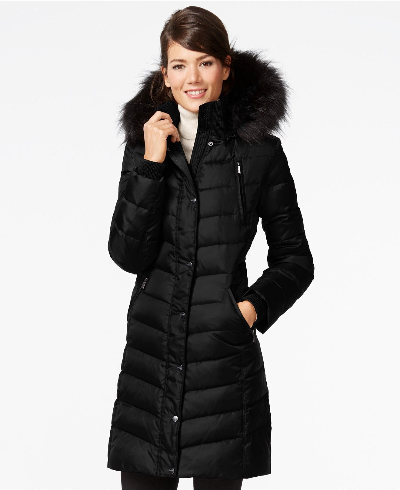 DKNY Faux Fur Trim Hooded Down Puffer Coat Coats Women