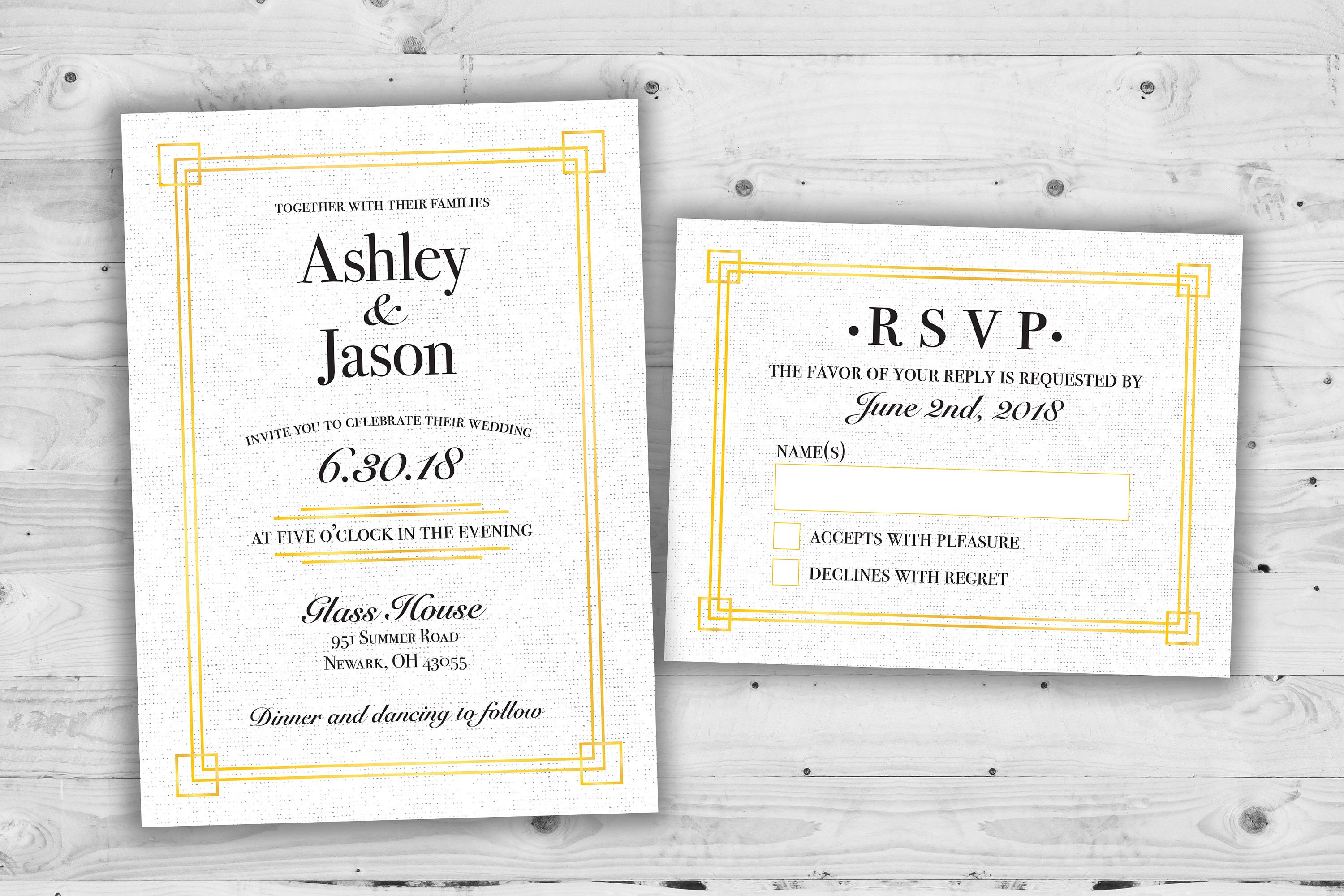 Elegant Art Deco Wedding Invitations Set Printed Cheap Etsy Deco Wedding Invitations Cheap Wedding Invitations Wedding Invitation Sets