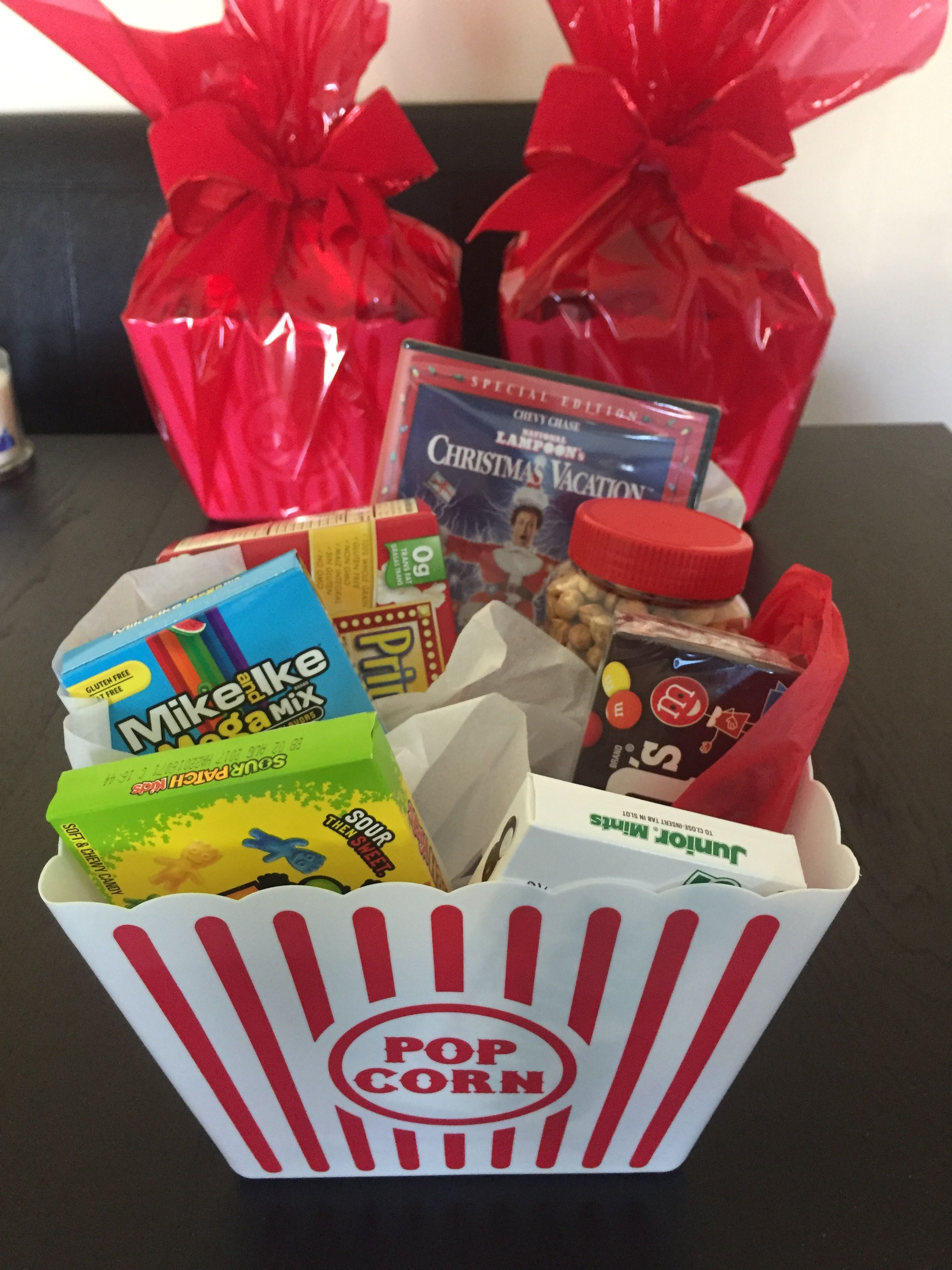 Christmas gift family gift Movie bucket with popcorn and candy with ...