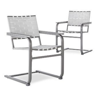 Blake 2 Piece Metal Woven Strap Patio Motion Dining Chair Set   Threshold™
