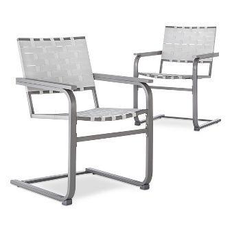 Phenomenal Blake 2 Piece Metal Woven Strap Patio Motion Dining Chair Ibusinesslaw Wood Chair Design Ideas Ibusinesslaworg