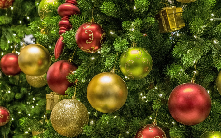 Download Wallpapers Christmas Decorations Xmas Balls Xmas Tree Happy New Year Fir Tree Merry Christmas Xmas Besthqwallpapers Com Christmas Decorations Christmas Wallpaper Christmas Tree Ornaments