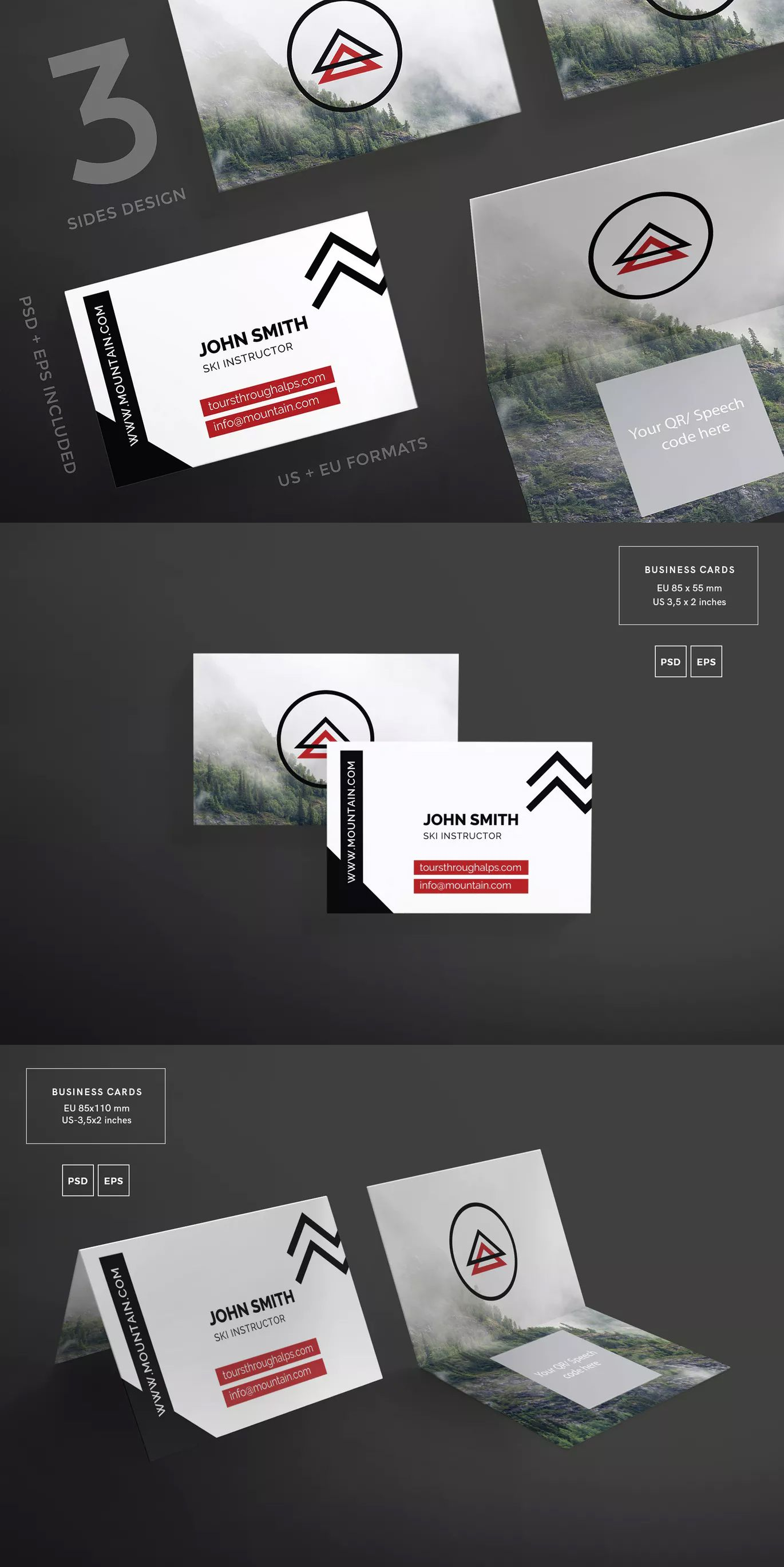 Mountain Tours Business Card Template By Ambergraphics On Envato Elements Business Card Template Unique Business Cards Business Card Minimalist