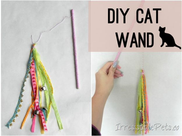 Cute DIY Cat Toys | DIY Cat Wand by DIY Ready http://diyready.com/best-diy-pet-projects-to-keep-your-furry-friends-happy/