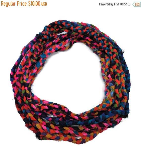 SALE Braided Sari Silk Ribbon Cording 3 Ply , Multi Mix
