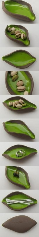 """Ceramics by Saskia Lauth - """"Chocolate-Pistachio"""" series, 2015, small dishes in natural shapes, brown clay, apple green glaze - www.saskia-lauth.com"""