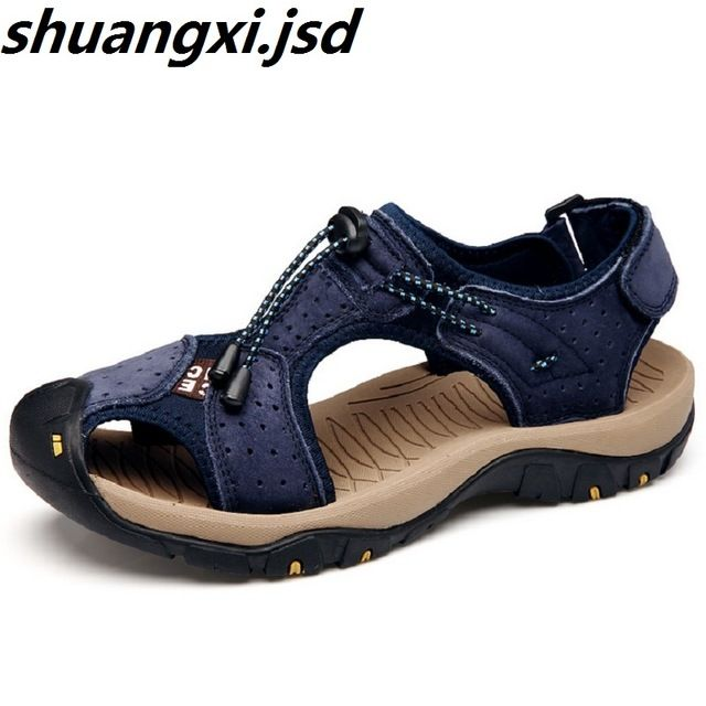 93970f48dc04 Check current price Men Sandals High Quality Toe Protect Men Outdoor Casual  Sport Beach Sandals New Arrive Summer Leather Soft Sole Zapatos just only   26.39 ...