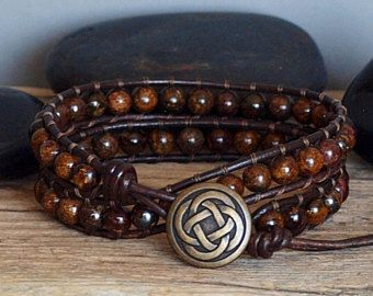 Mens Beaded Leather Double Wrap Bracelet Bronzite Gemstone Natural Stone Earthy Bohemian Jewelry