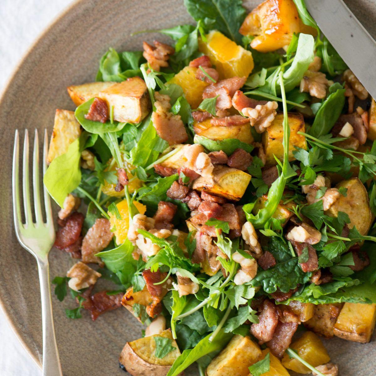 Kumara Bacon Walnut And Orange Salad Nadia Lim Recipe Kumara Salad Orange Salad Recipes Healthy Dinner Recipes