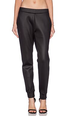 3ec027a6e05c T by Alexander Wang Shiny Bonded Fleece Sweatpants in Black