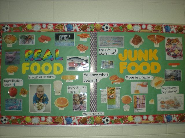 Classroom Decor For Toddlers ~ Real food or junk bulletin board pe boards