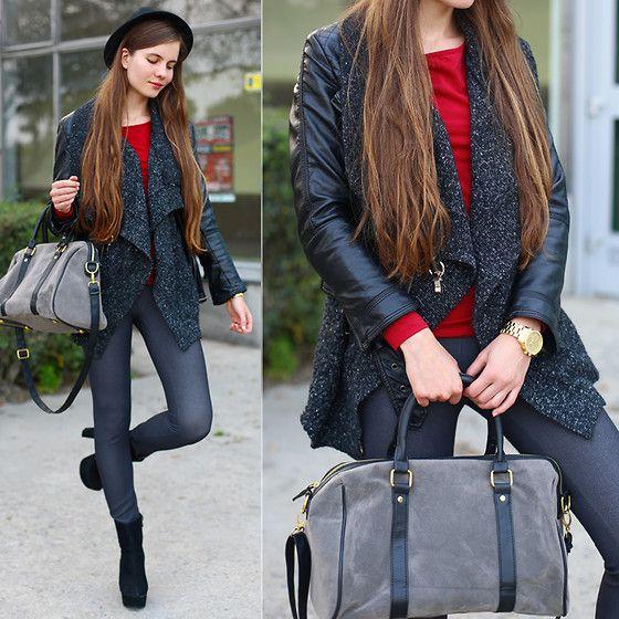 Ariadna Majewska - Red Top, Black Leather Jacket, Grey Pants, Grey Bag - Black & Red