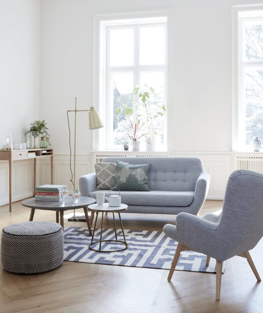 Hubsch Light Grey Danish 2 Seater Sofa Home Living Room Living Room Interior Room Interior