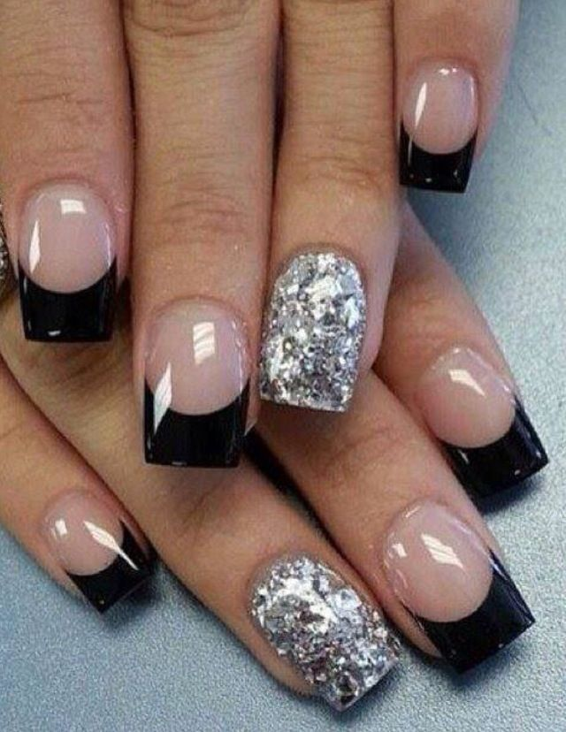 Black french nail design with silver accent nail - Pin By Lorna Rodriguez On NAILS Pinterest Nail Nail, Manicure