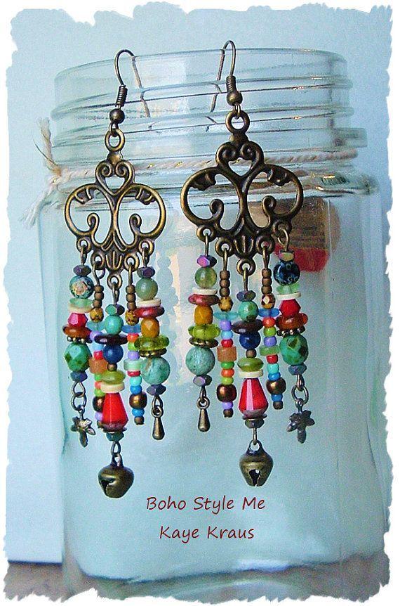 Copper Earrings Bohemian Tribal Earrings Ethnic Earrings Boho Gypsy Rustic Earrings Boho Earrings Green Earrings Feather Earrings