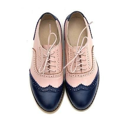 Vintage British Style Oxford Shoes For women 100% Genuine leather flat shoes wom... 1