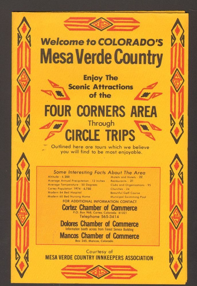 Undated Vacation Travel Souvenir Brochure Mesa Verde County Map