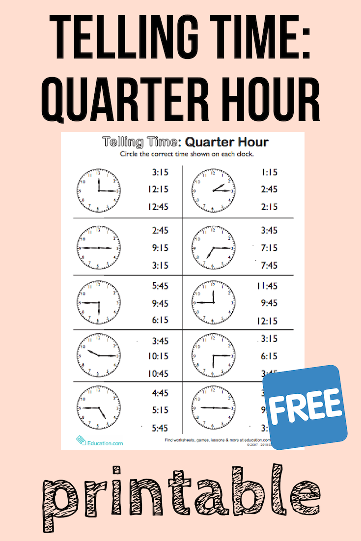 Telling Time On The Quarter Hour Match It Worksheet Education Com Math Activities For Kids Time Worksheets Kids Math Activities