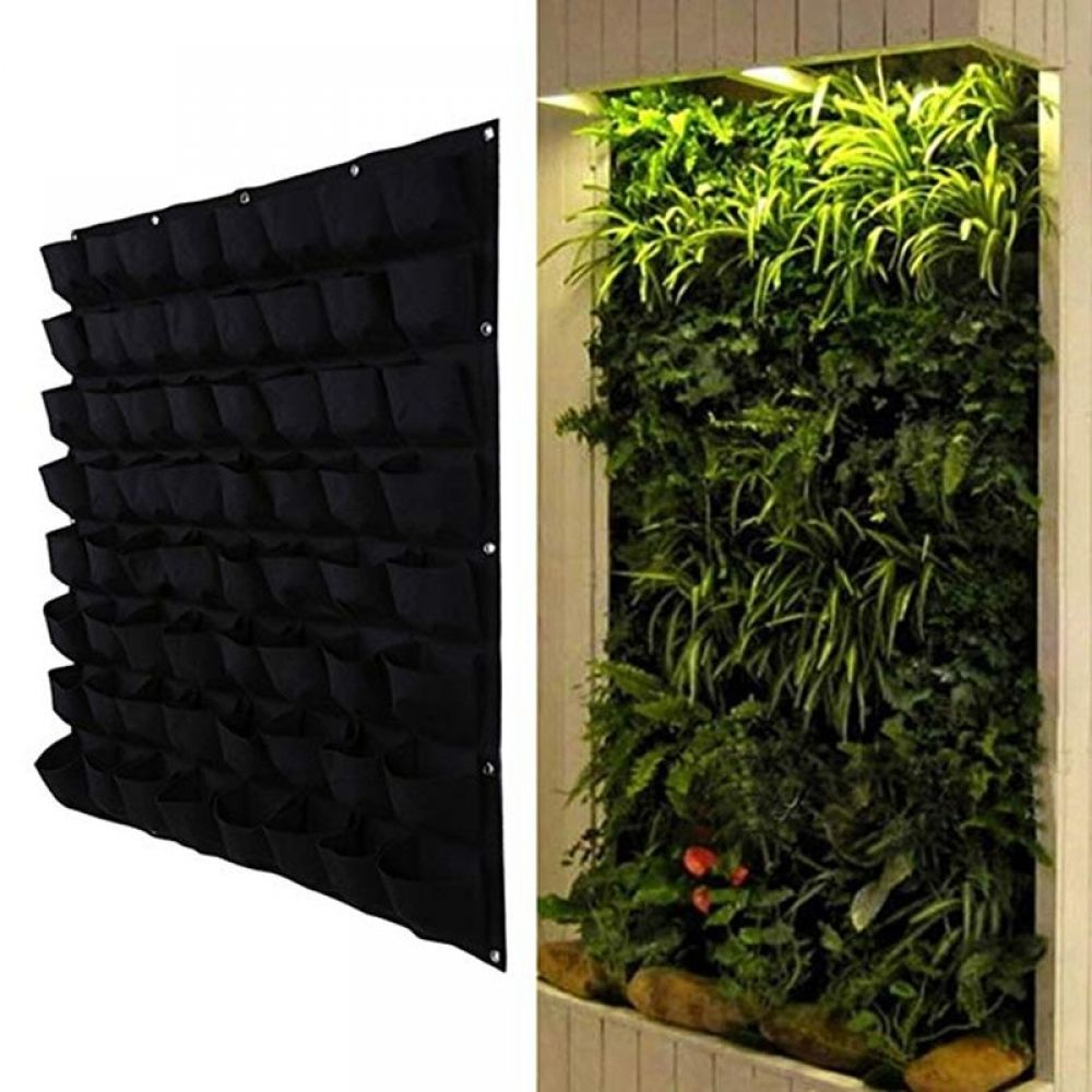 Garden Planting Hanging Bag 72 Pocket Vertical Wall For Herb Pot Planter Outdoor