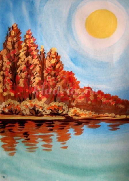 Осенний пейзаж гуашью. Поэтапное рисование для детей с ...