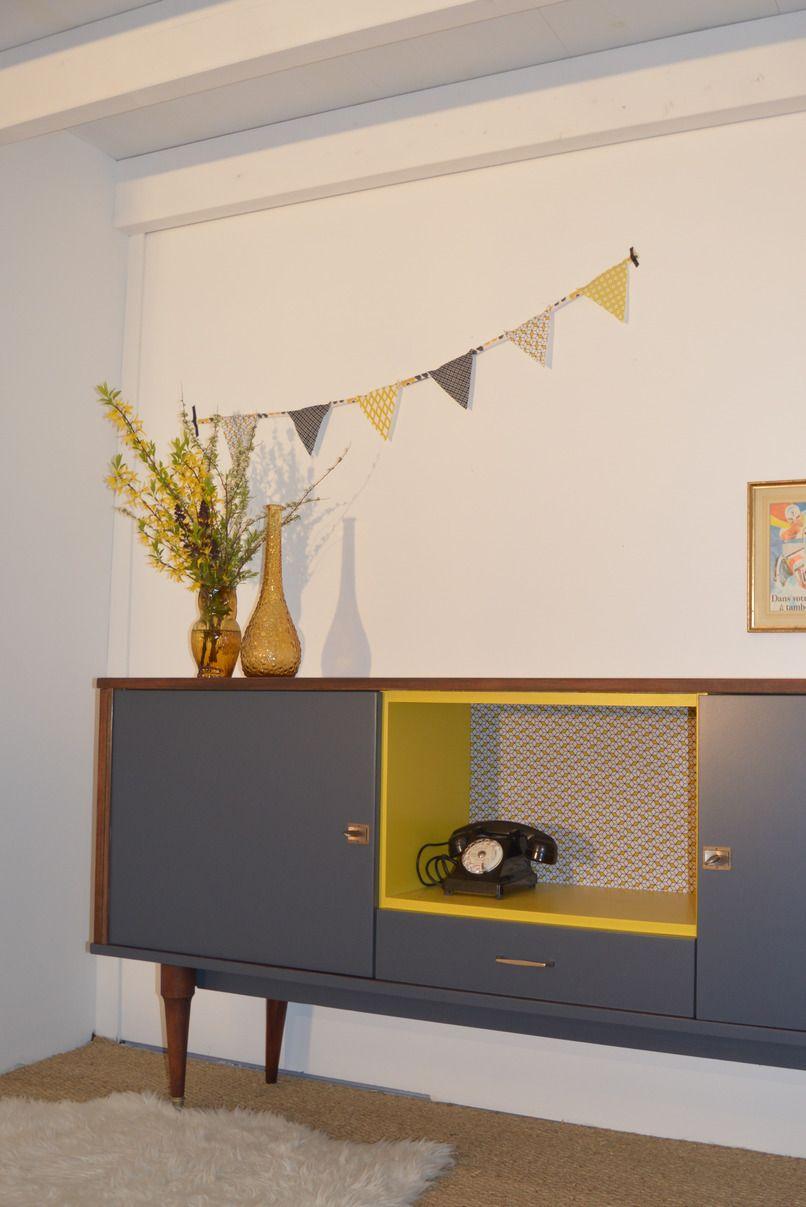 Buffet, Enfilade vintage entièrement restauré \