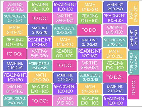 Erin Condren Teacher Planner Subject Stickers Template Planner