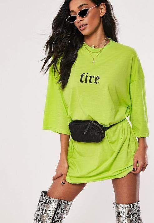 Neon Lime Übergroßes T-Shirt-Kleid mit Feuerslogan#fashion ...