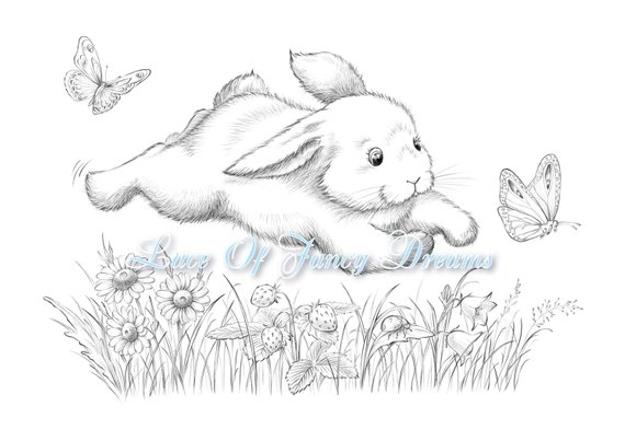 Cute Bunny Coloring Page Bunny Drawing Animals Kid Rabbit Etsy Bunny Coloring Pages Rabbit Colors Animal Drawings
