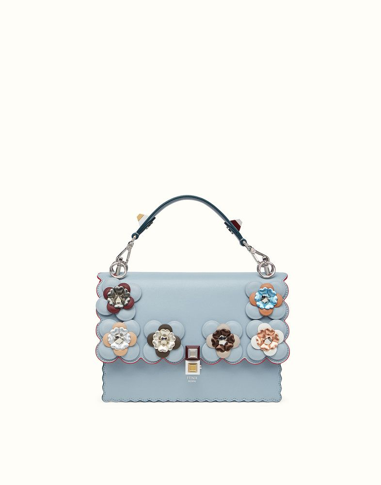 22e35d0da0 FENDI KAN I - Light blue leather handbag with flowers - view 1 detail