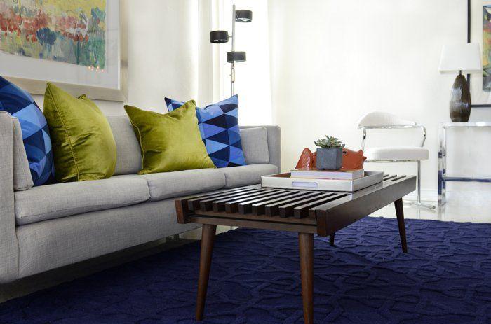 vintage teppiche blau wohnzimmer frische deokissen Innendesign