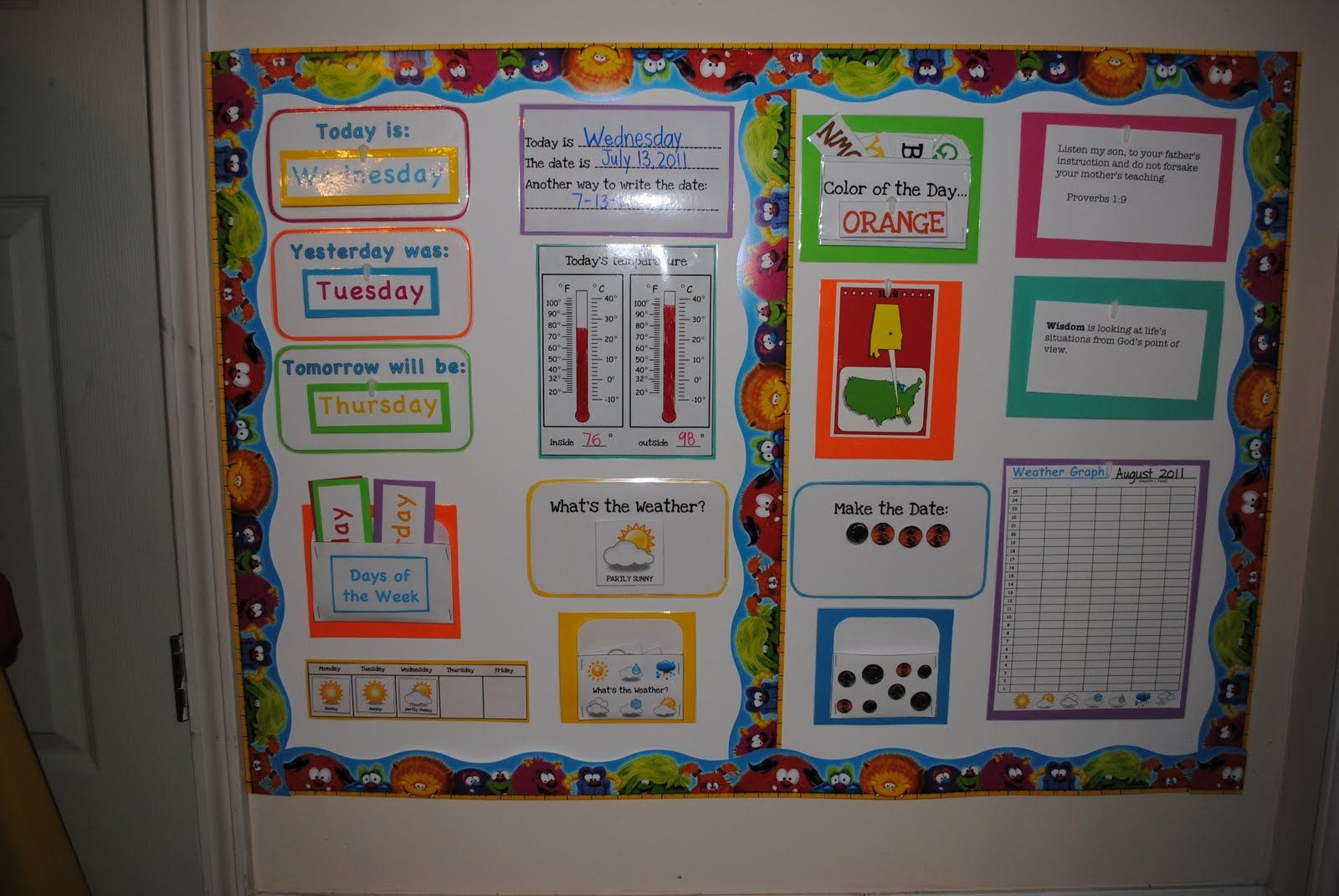 Calendar Bulletin Board For Kindergarten
