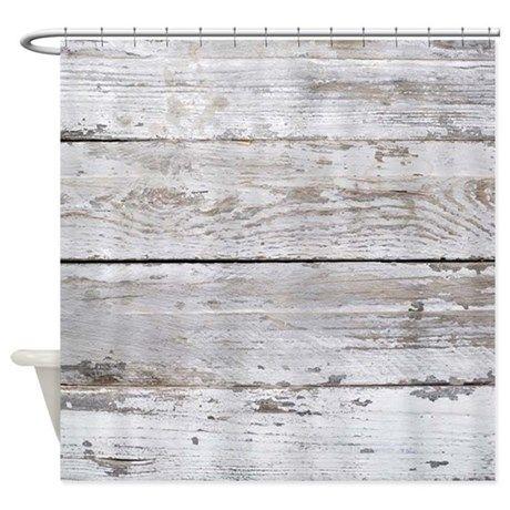 shabby chic white barn wood shower