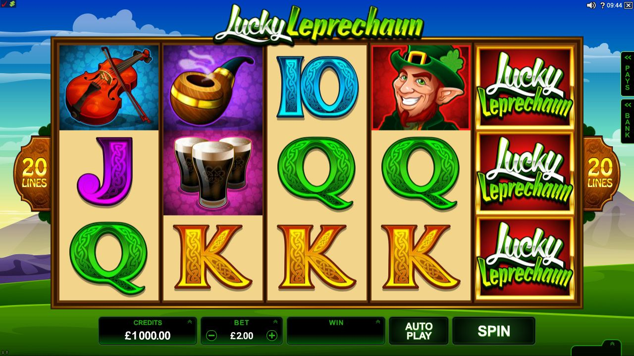 Lucky Leprechaun Online Slot Game play at www.europalace