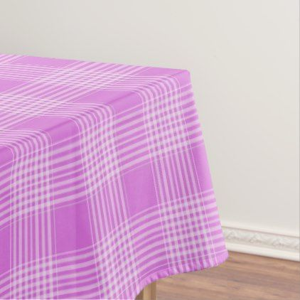 Purple And White Plaid Checkered Tablecloth