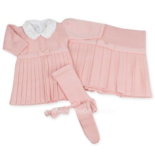 4fb75023c Saída de Maternidade com Vestido Pregas - Rosa - Verivê