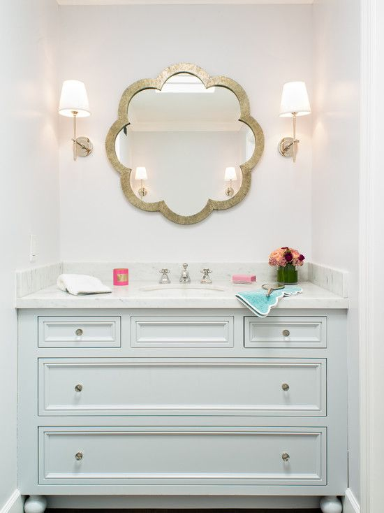 The Art Gallery Transitional Bathroom With Unique Bathroom Mirrors With Flower Shape And White Wall Paint Color Also